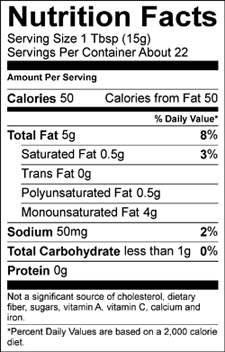 Avonaise nutrition label