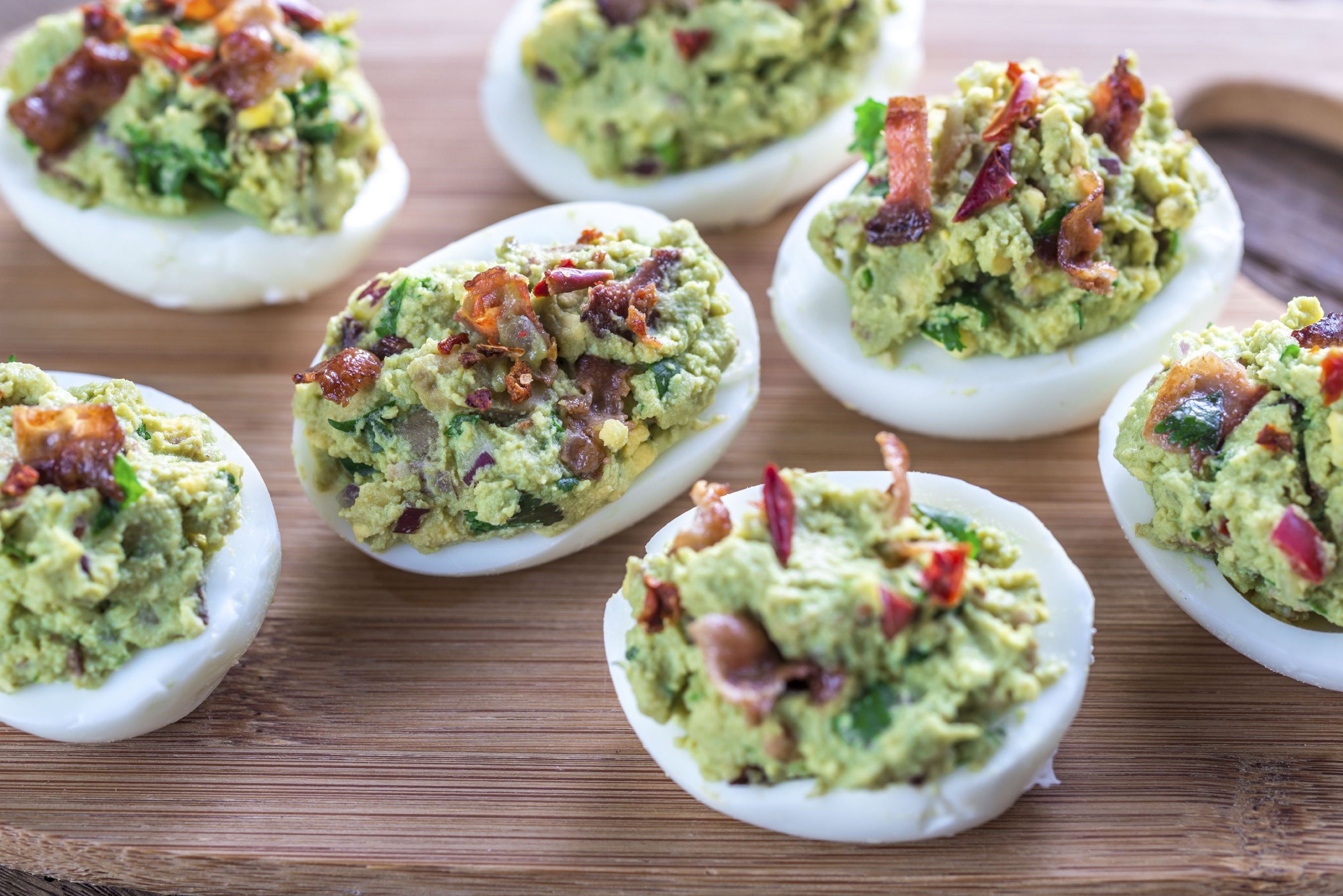 Bacon guacamole deviled eggs with avonaise