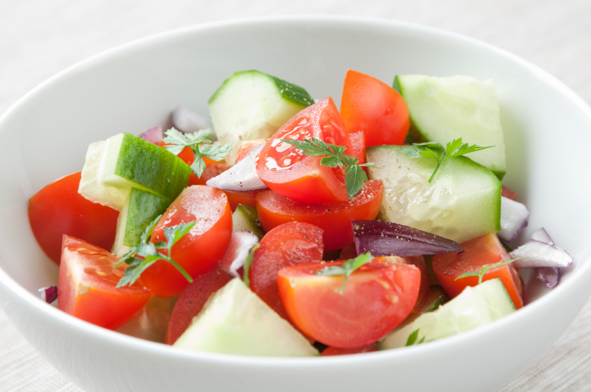 Tomato salad with cucumber, onion and parsley and avonaise